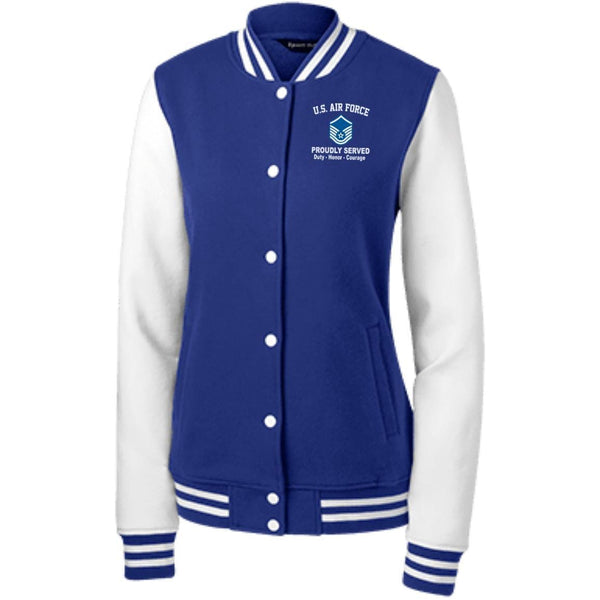 US Air Force E-7 Master Sergeant MSgt E7 Noncommissioned Officer Proudly Served Embroidered Sport-Tek Women's Fleece Letterman Jacket