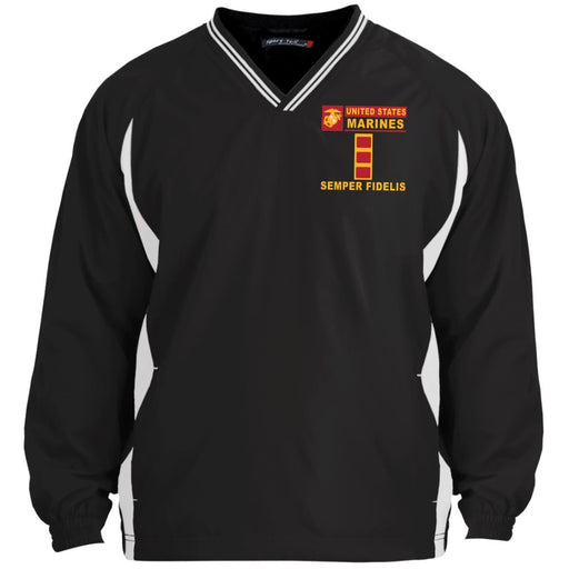 USMC W-2 Chief Warrant Officer 2 CWO2 USMC W2 Warrant Officer- Semper Fidelis Sport-Tek Tipped V-Neck Windshirt