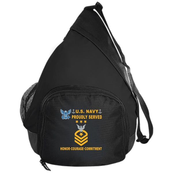 US Navy E-9 Master Chief Petty Officer Of The Navy E9 MCPON Collar Device Proudly Served-D04 Embroidered Active Sling Pack