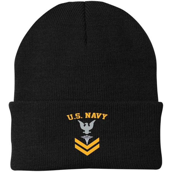 US Navy Hospital Corpsman HM E-5 Rating Badges Gold Stripe Embroidered Port Authority Knit Cap