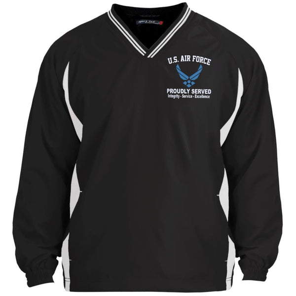 US Air Force Logo Core Values Embroidered Sport-Tek Tipped V-Neck Windshirt
