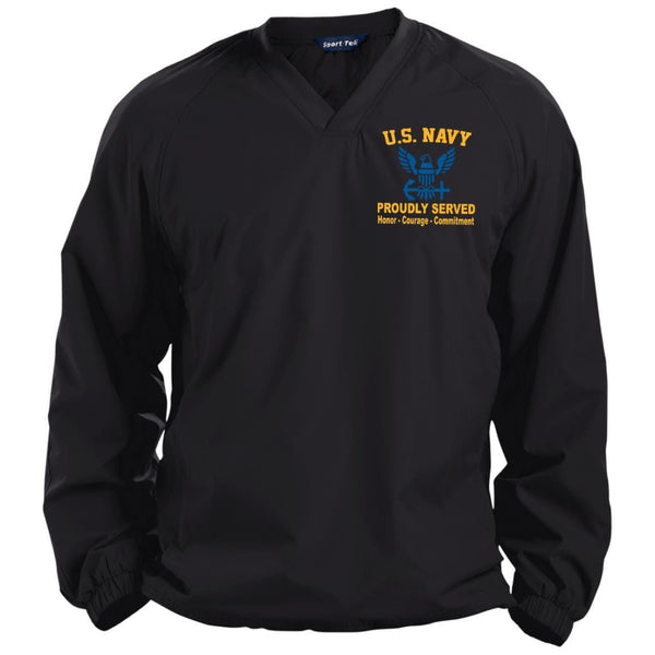 US Navy Proudly Served Core Values Embroidered Sport-Tek Pullover V-Neck Windshirt