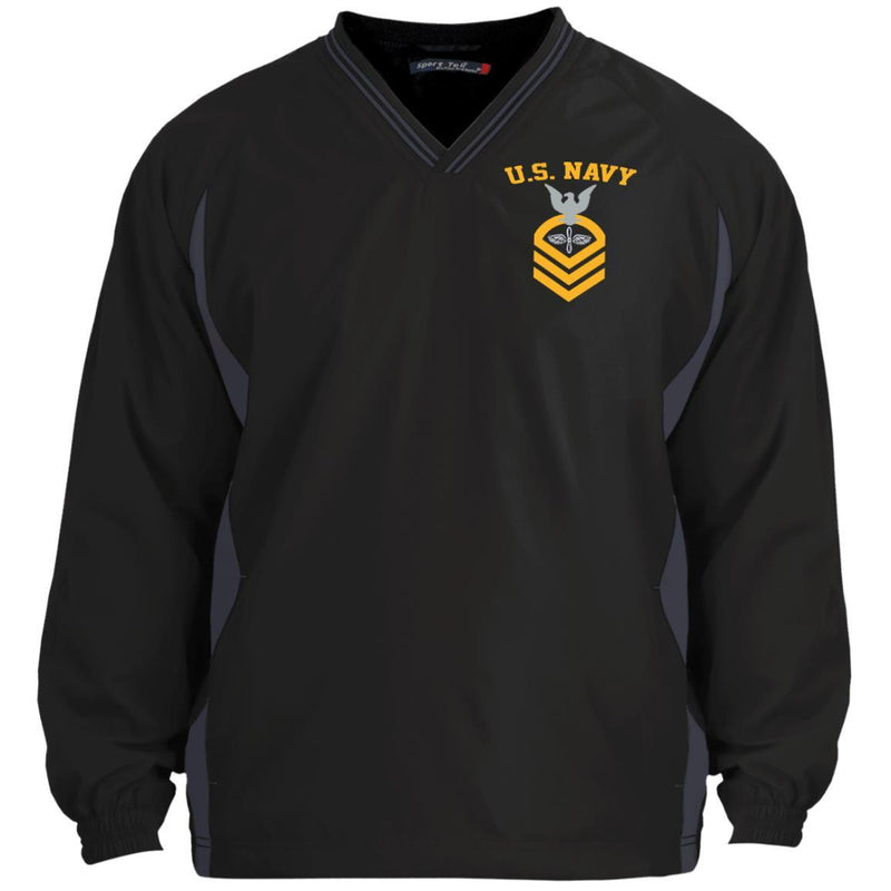 US Navy Aviation Machinist's Mate AD E-7 Rating Badges Embroidered Sport-Tek Tipped V-Neck Windshirt