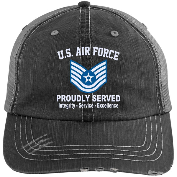 US Air Force E-6 Technical Sergeant TSgt E6 Noncommissioned Officer Core Values Embroidered Distressed Unstructured Trucker Cap
