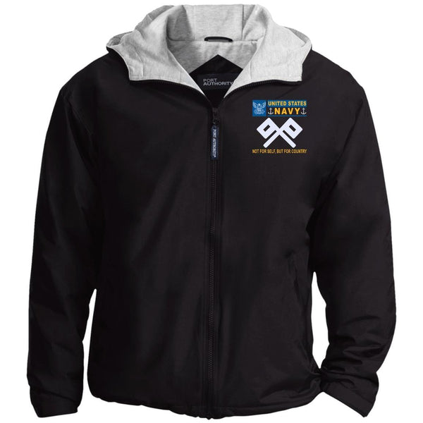US Navy Signalman SM- Not For Self, But For Country Embroidered - Fleece Lined Hooded  Team Jacket