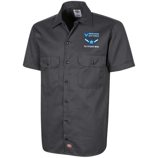 US Air Force E-2 Airman Amn E2 Enlisted Airman- Fly Flight Win Embroidered Dress Shirt - Workshirt