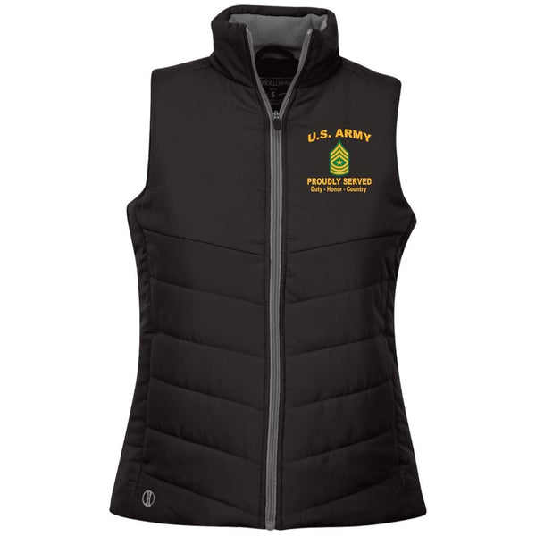 US Army E-9 Sergeant Major E9 SGM Proudly Served Military Mottos Embroidered Holloway Ladies' Quilted Vest
