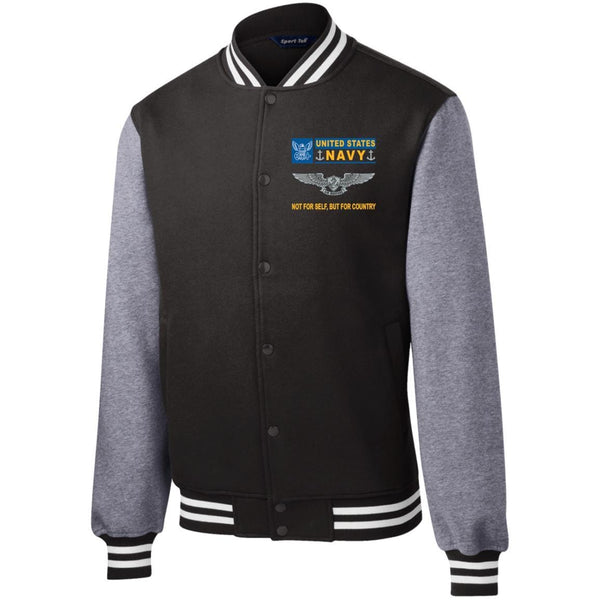 U.S. Navy Enlisted Aviation Warfare Specialist Not For Self But For Country Men/Women Sport-Tek® Fleece Letterman Jacket