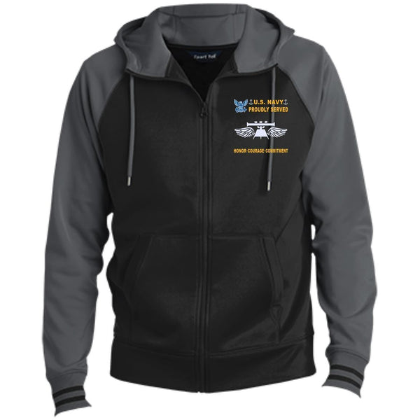 US Navy Aviation Fire Control Tech AQ - Proudly Served-D04 Embroidered Sport-Tek® Full-Zip Hooded Jacket