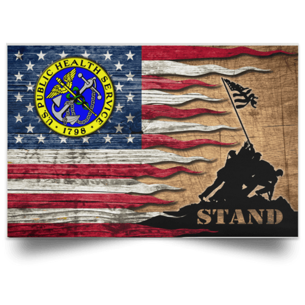 US Army Public Health Service Stand For The Flag Satin Landscape Poster