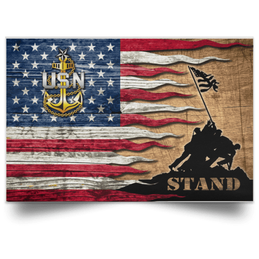 US Navy E-8 Senior Chief Petty Officer E8 SCPO Senior Noncommissioned Officer Collar Device Stand For The Flag Satin Landscape Poster