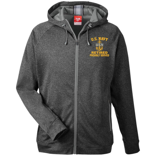 US Navy E-7 Chief Petty Officer E7 CPO Senior Retired Collar Device TT38 Team 365 Men's Heathered Performance Hooded Jacket