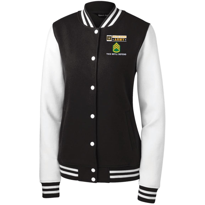 US Army E-6 Staff Sergeant E6 SSG Noncommissioned Officer- This we'll defend Men/Women Sport-Tek® Fleece Letterman Jacket