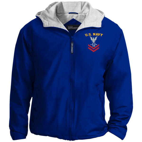 US Navy Sonar Technician ST E-5 Rating Badges Embroidered Port Authority® Hoodie Team Jacket