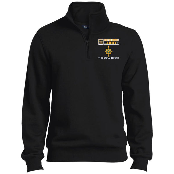 US Army Intelligence Corps- This we'll defend Embroidered 1/4 Zip Pullover