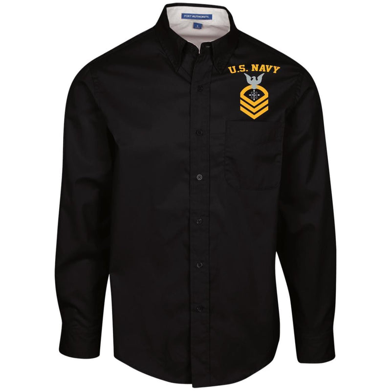 US Navy Data Systems Technician DS E-7 Rating Badges Embroidered Port Authority Men's LS Dress Shirt