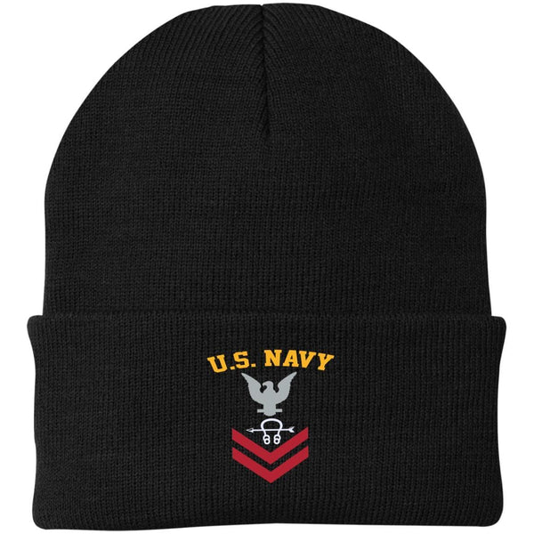 US Navy Sonar Technician ST E-5 Rating Badges Embroidered Port Authority Knit Cap