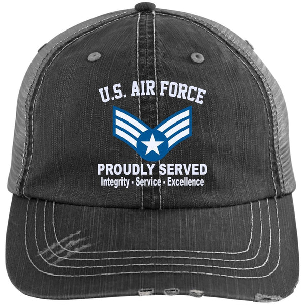 US Air Force E-4 Buck Sergeant Proudly Served Embroidered Distressed Unstructured Trucker Cap