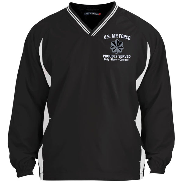 US Air Force O-5 Lieutenant Colonel Lt Co O5 Field Officer Proudly Served Embroidered Sport-Tek Tipped V-Neck Windshirt