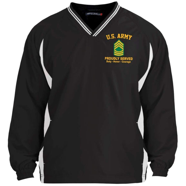 US Army E-8 Master Sergeant E8 MSG Noncommissioned Officer Embroidered Sport-Tek Tipped V-Neck Windshirt