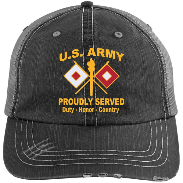 US Army Signal Corps Proudly Served Military Mottos Embroidered Distressed Unstructured Trucker Cap