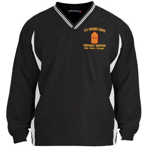 USMC E-9 Master Gunnery Sergeant E9 MGySg Staff Noncommissioned Officer Proudly Served Embroidered Sport-Tek Tipped V-Neck Windshirt