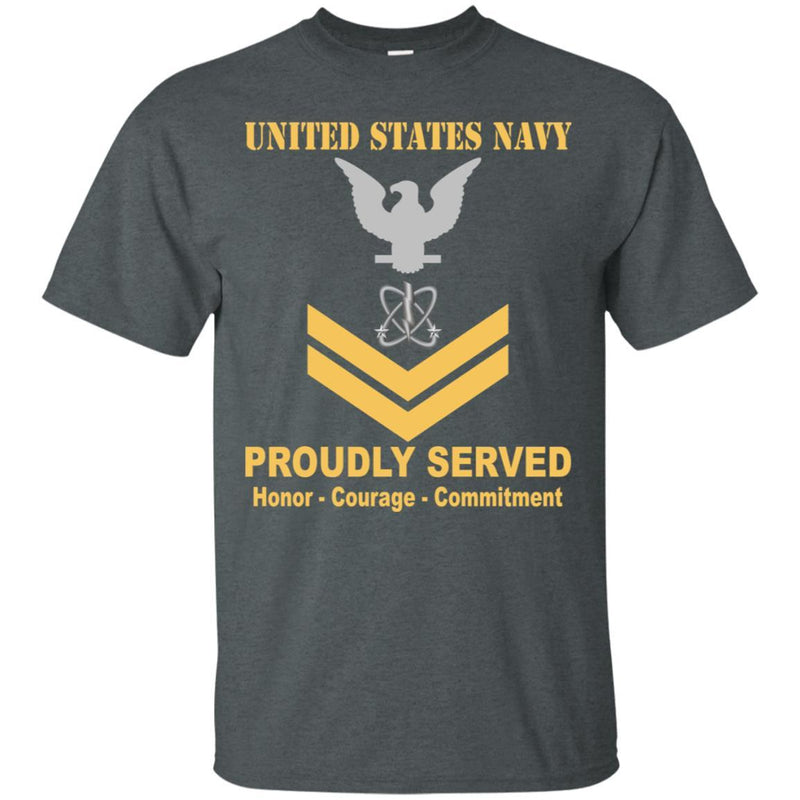 Navy Electronics Warfare Technician Navy EW E-5 Rating Badges Proudly Served T-Shirt For Men On Front