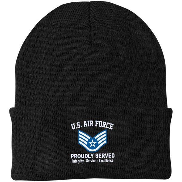 US Air Force E-5 Staff Sergeant SSgt E5 Noncommissioned Officer Core Values Embroidered Port Authority Knit Cap
