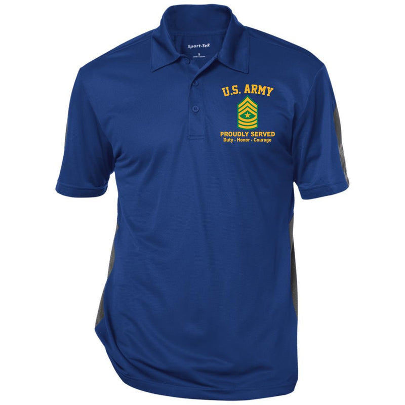 US Army E-9 Sergeant Major E9 SGM Noncommissioned Officer Ranks Performance Embroidered Polo Shirt
