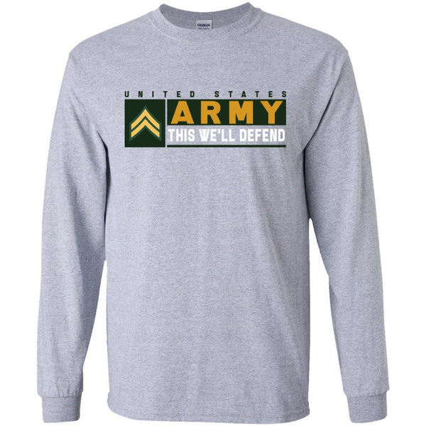US Army E-4 Corporal This We Will Defend Long Sleeve - Pullover Hoodie