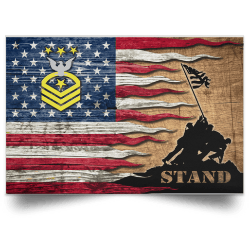 US Navy E-9 Master Chief Petty Officer Of The Navy E9 MCPON Collar Device Stand For The Flag Satin Landscape Poster