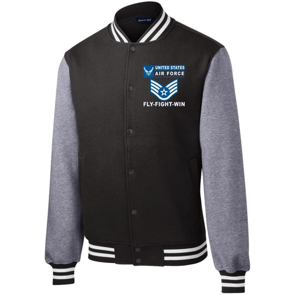 US Air Force E-5 Staff Sergeant SSgt E5 Noncommissioned Officer- Fly Flight Win Men/Women Sport-Tek® Fleece Letterman Jacket