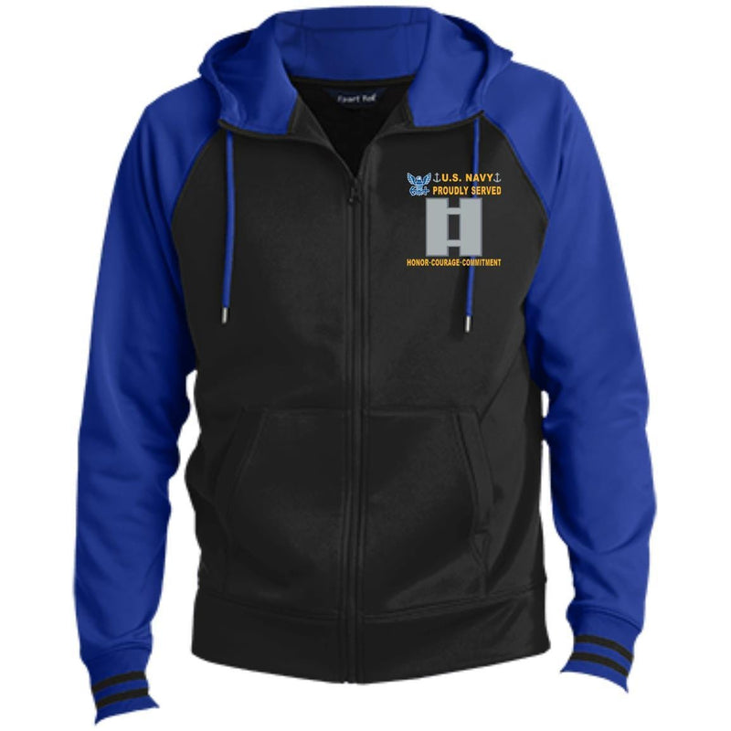 US Navy O-3 Lieutenant O3 LT Junior Officer Proudly Served-D04 Embroidered Sport-Tek® Full-Zip Hooded Jacket
