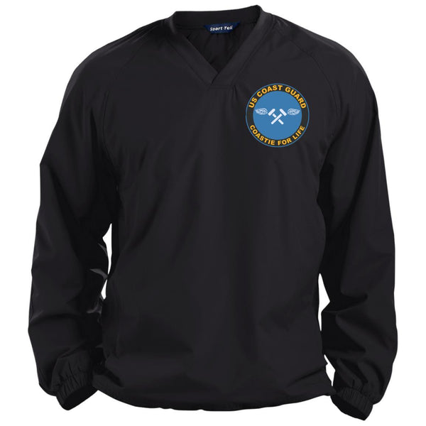 US Coast Guard Aviation Metalsmith AM Logo Coastie For Life Embroidered Sport-Tek Pullover V-Neck Windshirt