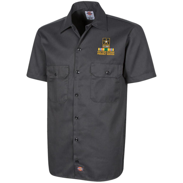 US Army Gulf War Veteran Proudly Served Embroidered Dickies Men's Short Sleeve Workshirt