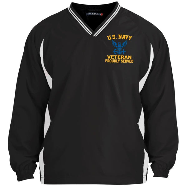 US Navy Logo Veteran Embroidered Windshirt - 1/2 Zip