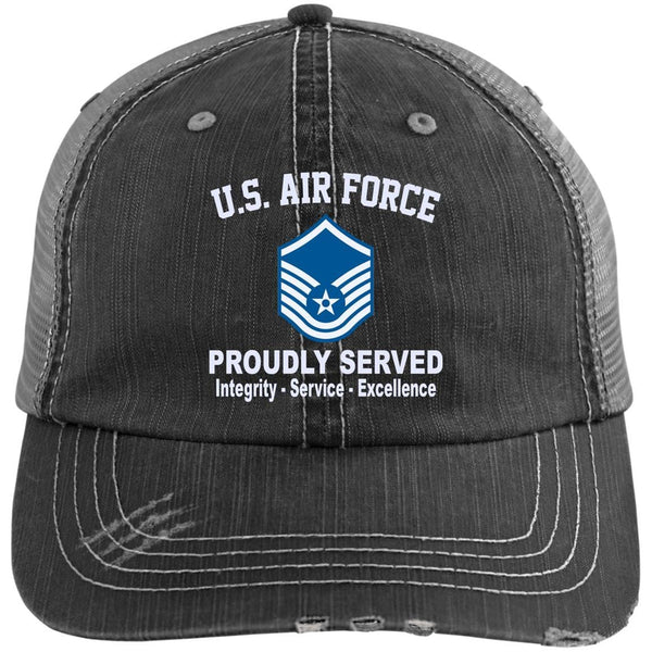 US Air Force E-7 Master Sergeant MSgt E7 Noncommissioned Officer Core Values Embroidered Distressed Unstructured Trucker Cap