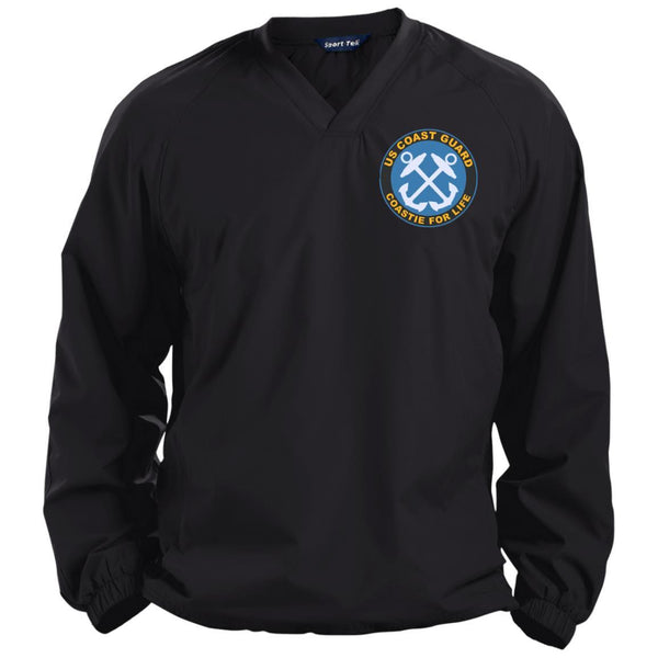 US Coast Guard Boatswains Mate BM Logo Coastie For Life Embroidered Sport-Tek Pullover V-Neck Windshirt