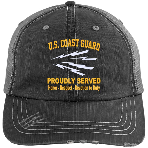 US Coast Guard Telecommunications Specialist TC Logo Embroidered Distressed Unstructured Trucker Cap
