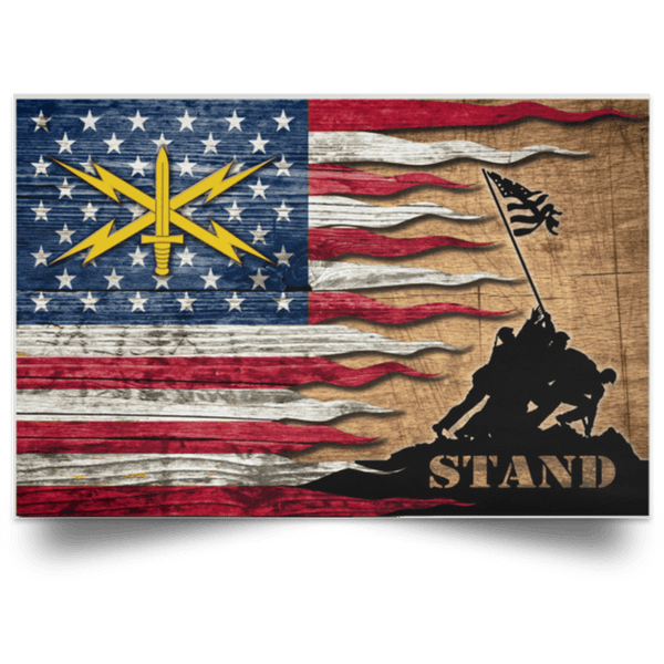 US  Army Cyber Corps Stand For The Flag Satin Landscape Poster