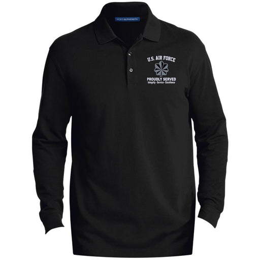 US Air Force O-5 Lieutenant Colonel Lt Co O5 Field Officer Core Values Embroidered LS Polo Shirt - Colorblock 1/2 Zip