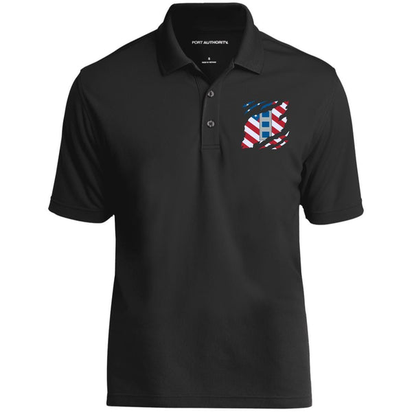 US Navy W-4 Chief Warrant Officer 4 W4 CW4 Warrant Officer And American Flag At Heart Embroidered Polo Shirt