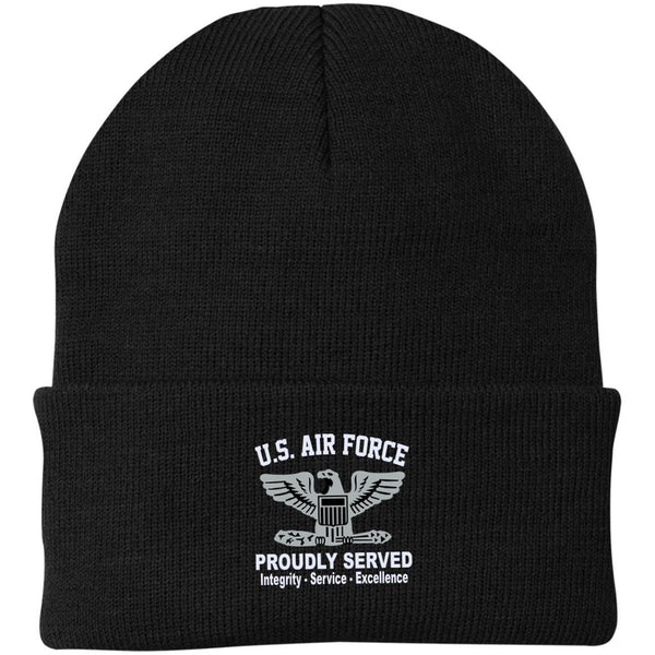 US Air Force O-6 Colonel Col O6 Field Officer Core Values Embroidered Port Authority Knit Cap
