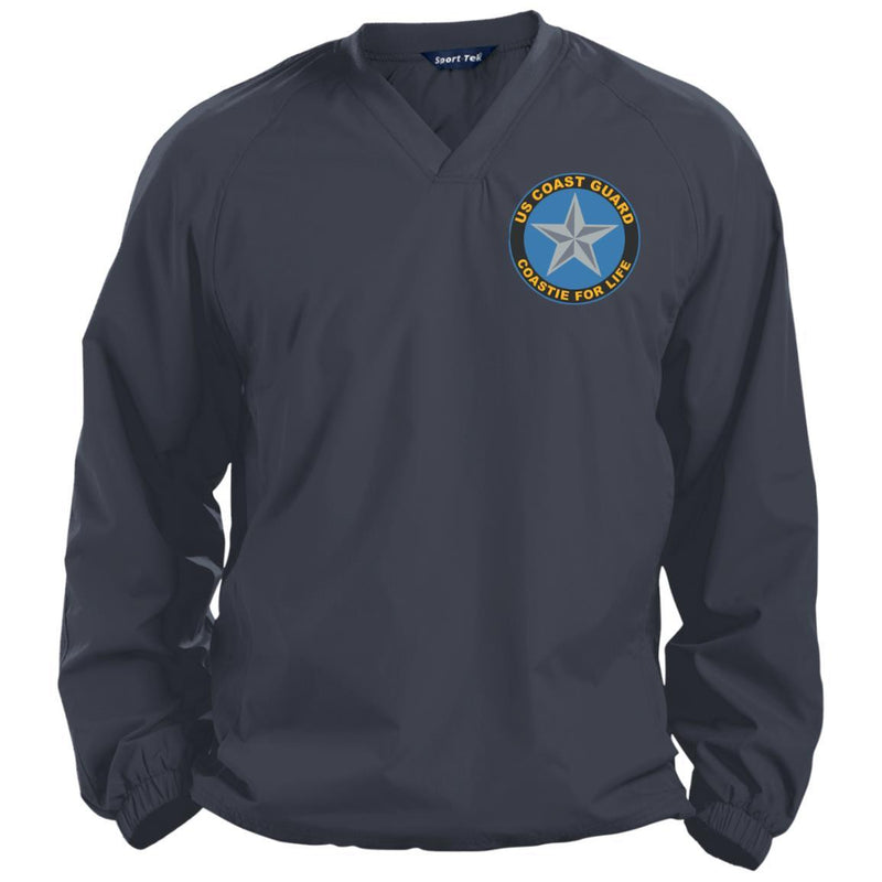 US Coast Guard O-7 Rear Admiral Lower Half O7 DRML Flag Officer Coastie For Life Embroidered Sport-Tek Pullover V-Neck Windshirt