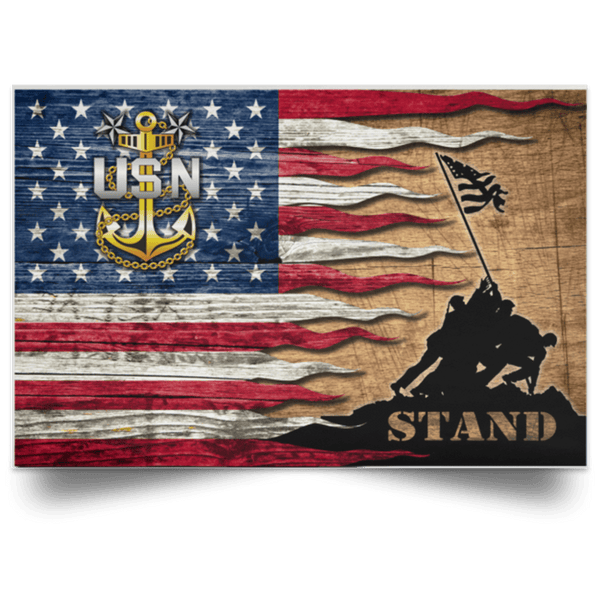 US Navy E-9 Master Chief Petty Officer E9 MCPO Senior Noncommissioned Officer Collar Device Stand For The Flag Satin Landscape Poster