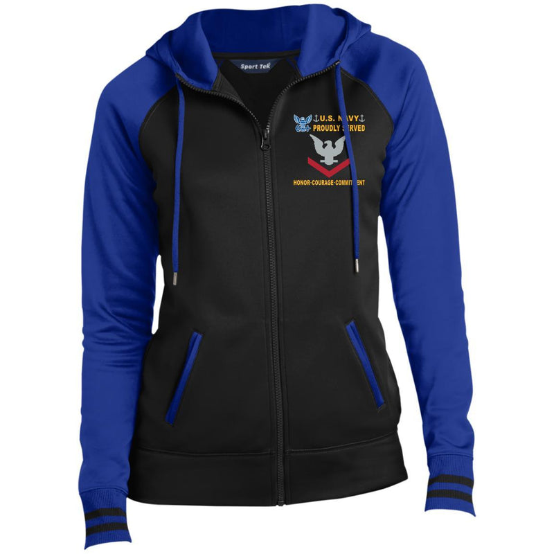 US Navy E-4 Petty Officer Third Class E4 PO3 Collar Device Proudly Served-D04 Embroidered Sport-Tek® Full-Zip Hooded Jacket