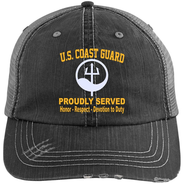 US Coast Guard Marine Science Technician MST Logo Embroidered Distressed Unstructured Trucker Cap