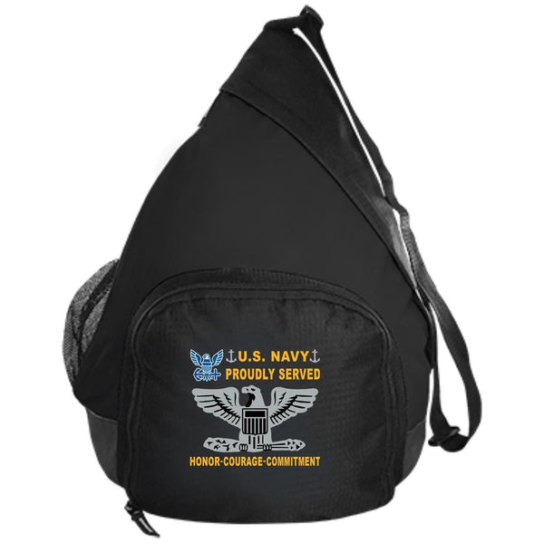 US Navy O-6 Captain O6 CAPT Senior Officer Proudly Served-D04 Embroidered Active Sling Pack