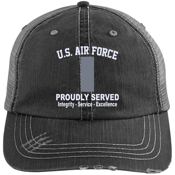 US Air Force O-2 First Lieutenant 1st L O2 Commissioned Officer Core Values Embroidered Distressed Unstructured Trucker Cap