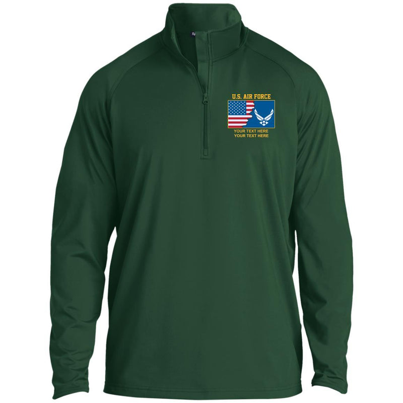 US Air Force Logo - Personalized Embroidered Sport-Tek® 1/2 Zip Raglan Performance Pullover